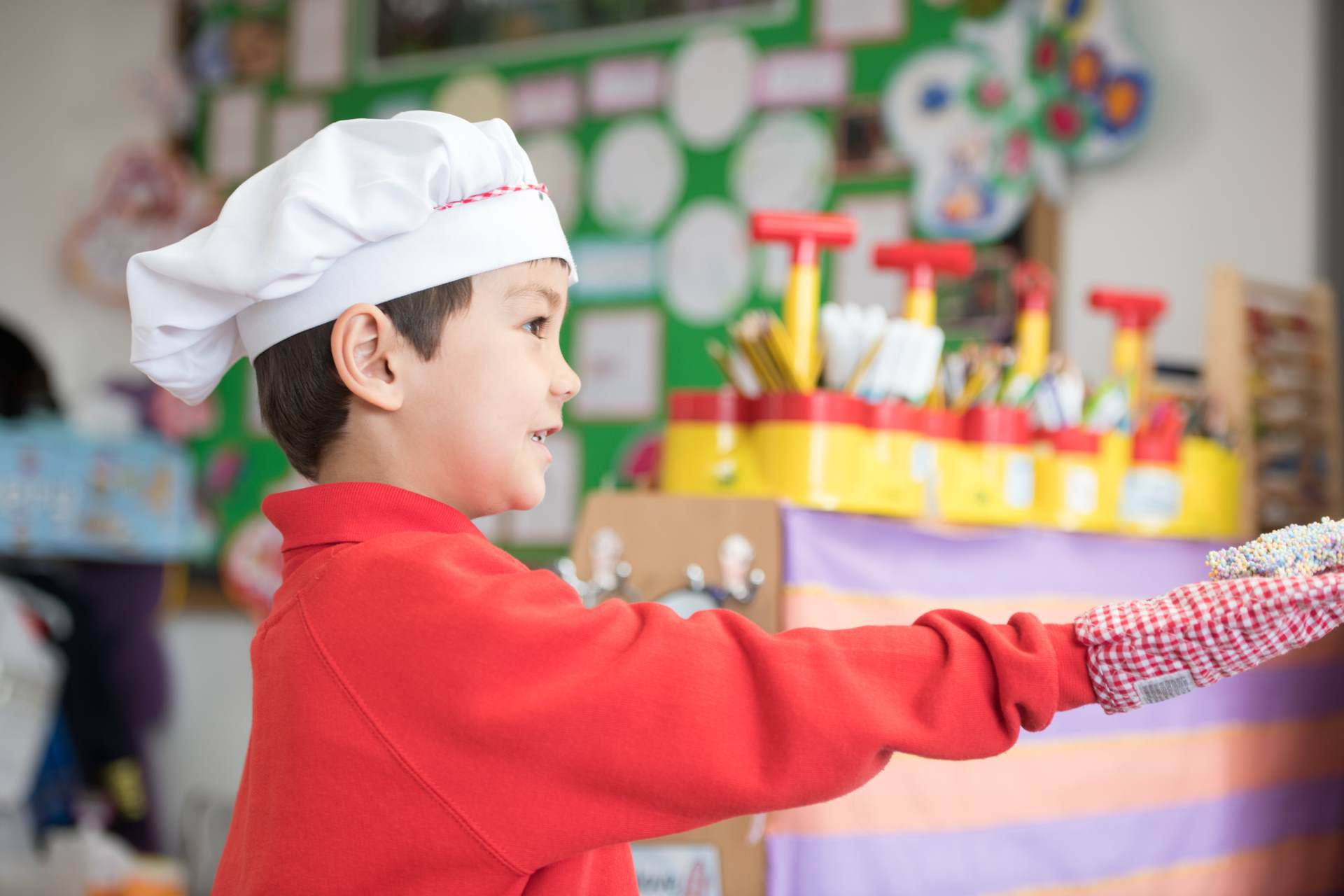 Boy chef hat creative play